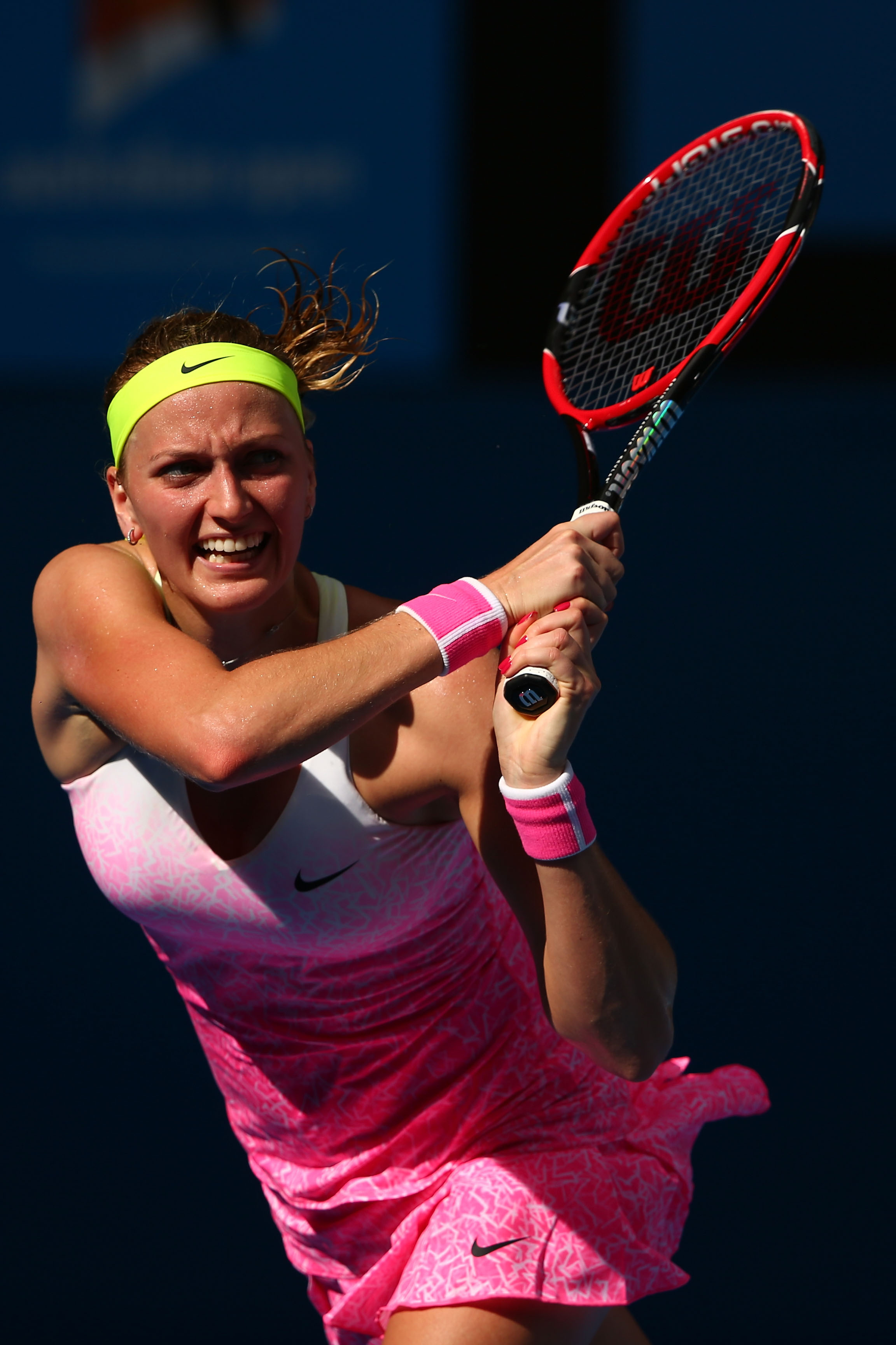 Looking as fit as ever, Kvitova has been wearing this pink Nike kit well.