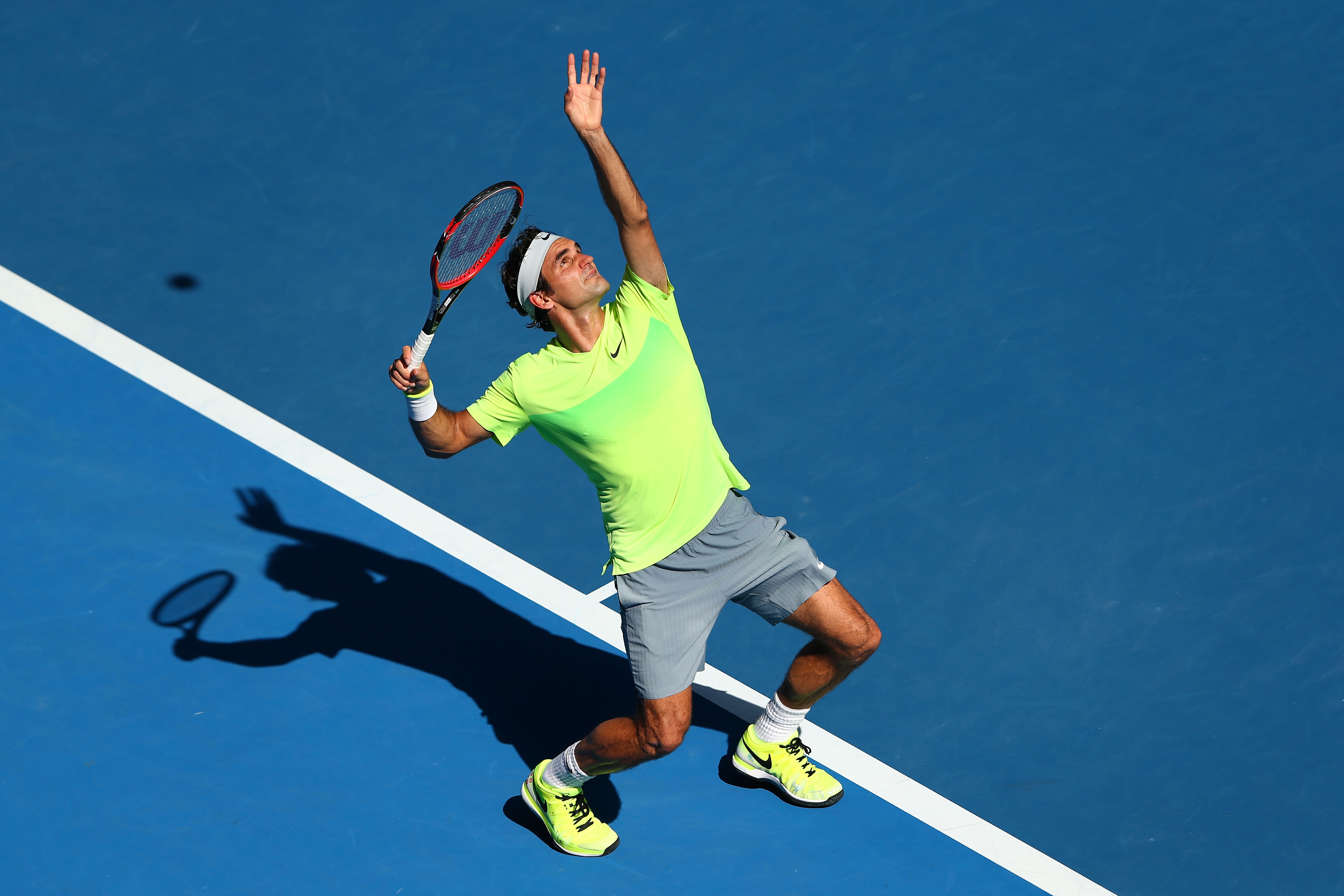 It's a rare sight to see Federer in fluorescent colors. And rarer still, after his third round loss.