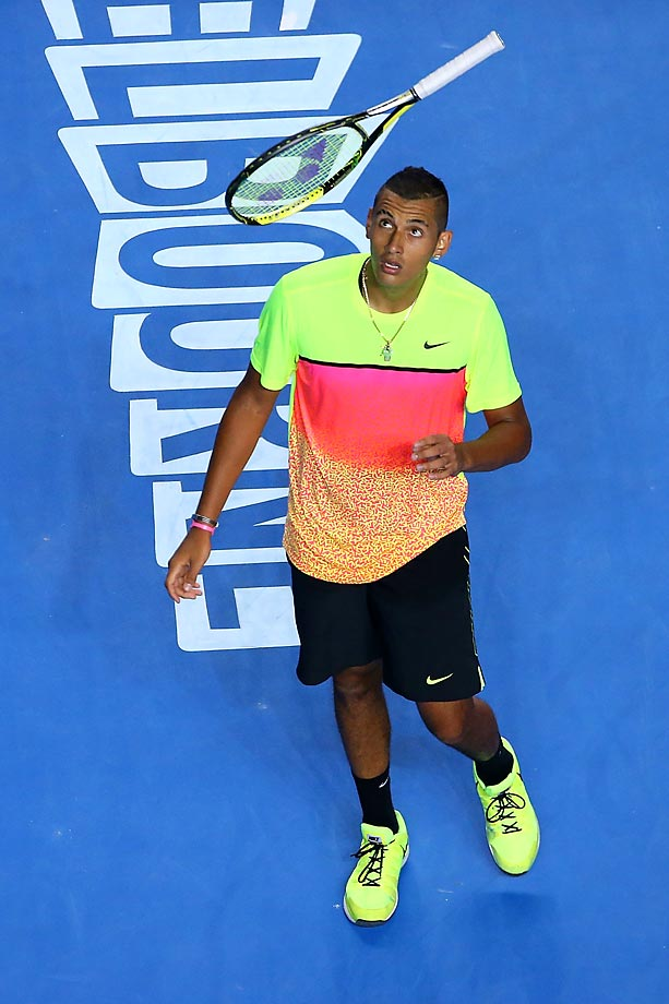 Nick Kyrgios of Australia throws his racquet during his match against Andreas Seppi of Italy at the Australian Open.