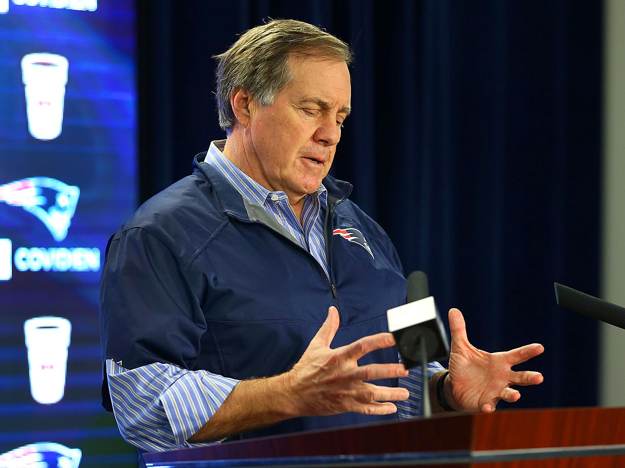 Patriots head coach Bill Belichick talks to the media about, you guessed it, the deflated football controversy.