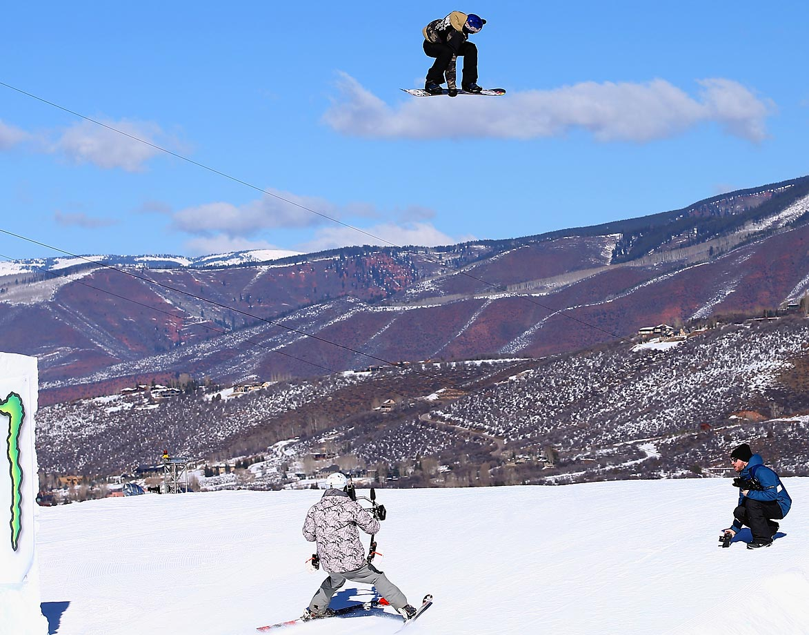 Mark McMorris of Canada rides a cloud during the slopestyle elimination at the Winter X-Games.
