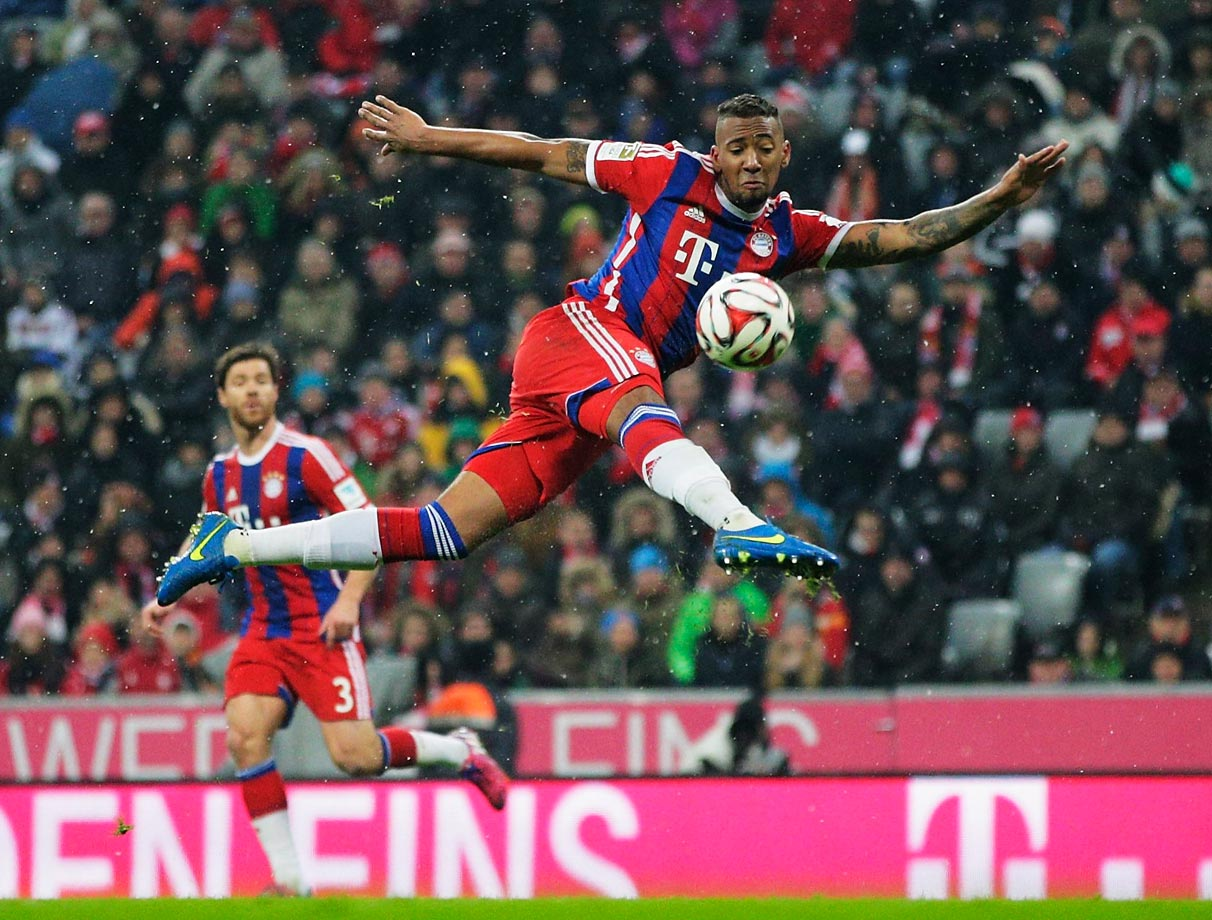 Jerome Boateng of FC Bayern Muenchen in action during a Bundesliga match against FC Koeln.