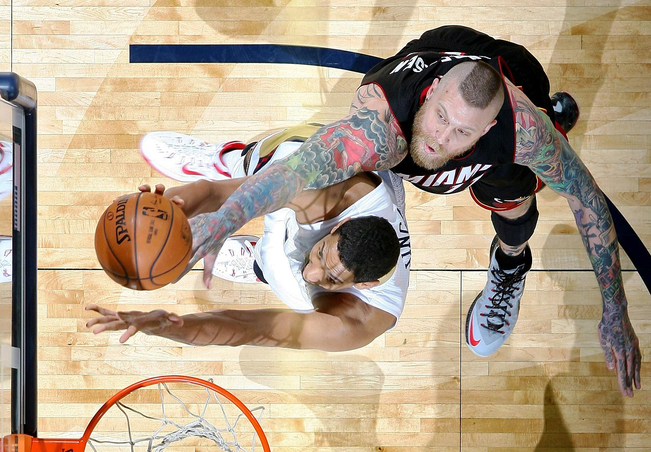Chris Andersen of the Miami Heat goes up for a block against the New Orleans Pelicans' Alexis Ajinça.