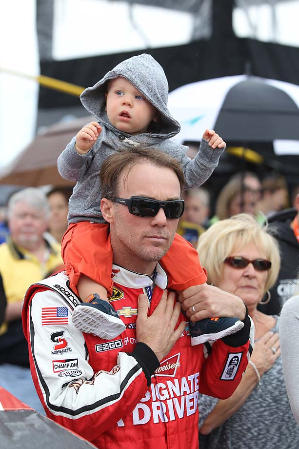 Kevin Harvick with his son, Keelan, on pit road before the start of the 2011 Chase for the Sprint Cup race at Chicagoland Speedway in Joliet, Ill.