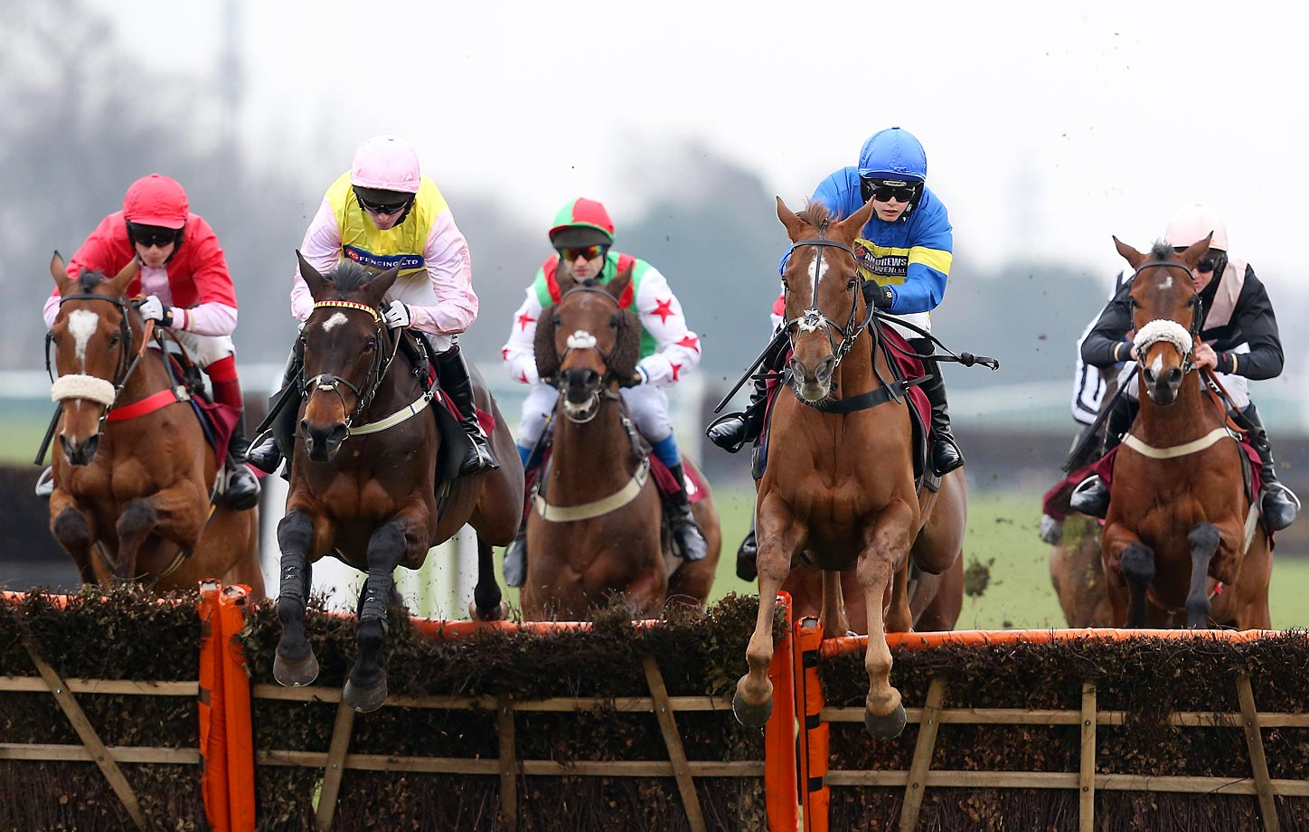 Masterful Act ridden by Miss B. Andrews(second from right) jumps a fence ahead of the pack in Haydock, England.