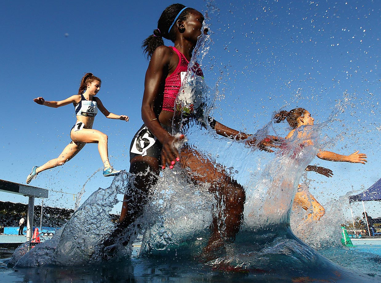 Magdalene Masai of Kenya competes in the 3000 Metre Steeplechase during the Melbourne World Challenge in Australia.