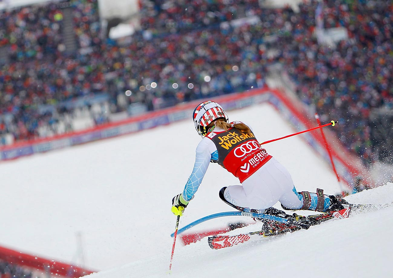 Mikaela Shiffrin of the U.S. wins the slalom race and the overall World Cup slalom globe at the World Cup Finals in Meribel, France.