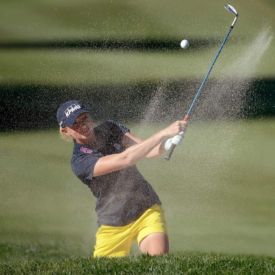 American Stacy Lewis hits out of the bunker on the 15th hole during the LPGA KIA Classic in Carlsbad, Calif.