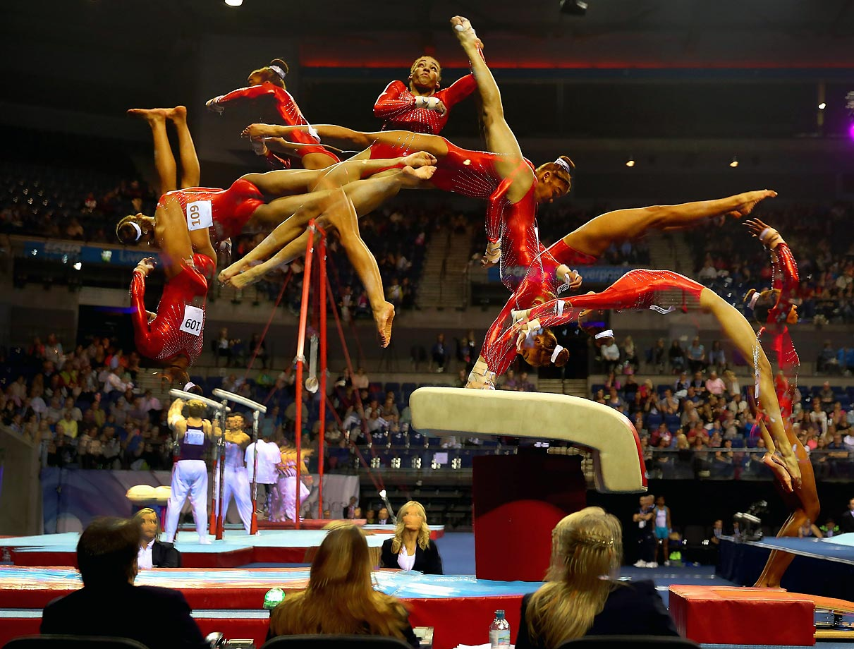British gymnast Jade Stedford competes in the vault during the Artistic British Championships in Liverpool, England. Stedford finished eighth in the event, won by Claudia Fragapane.