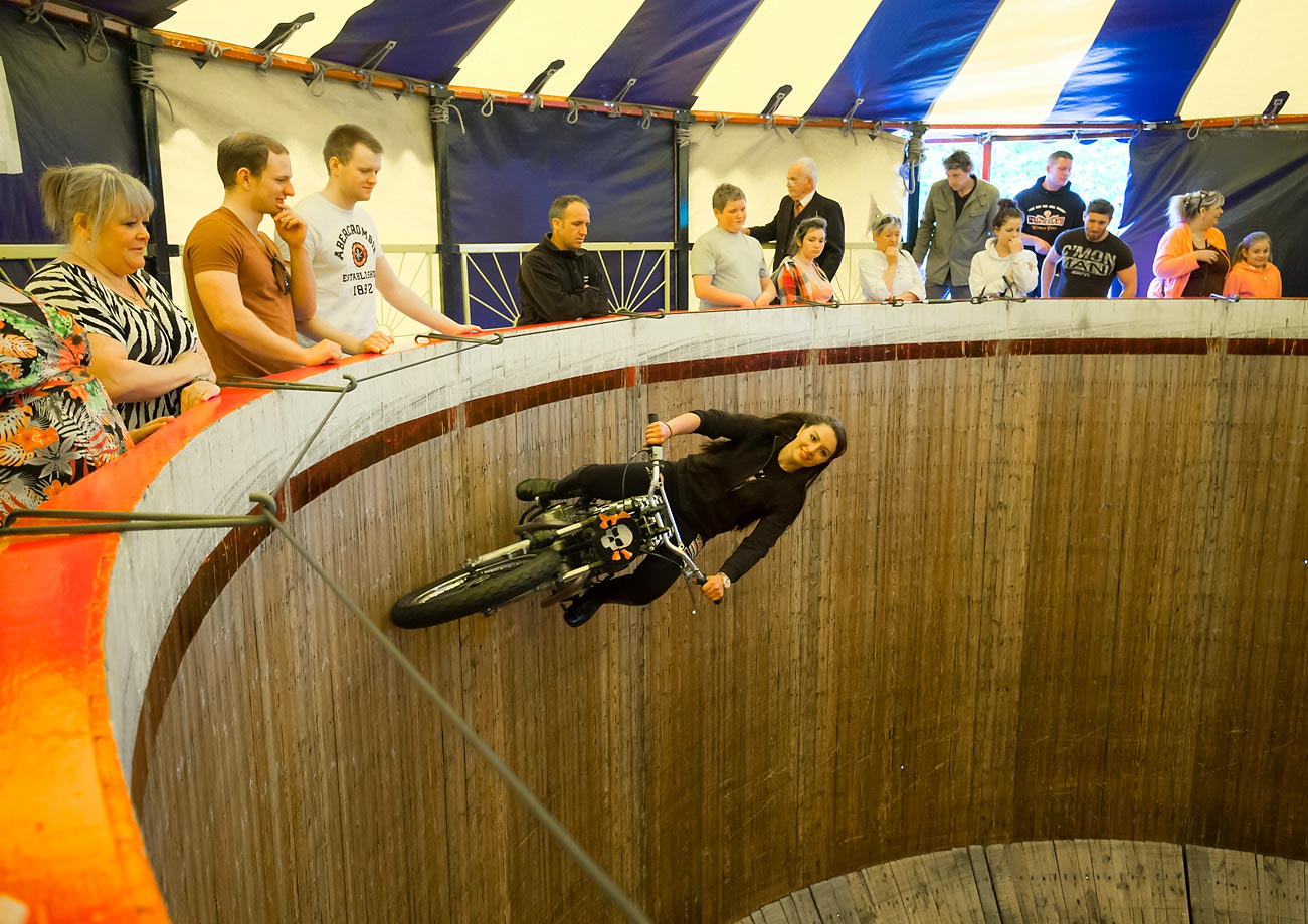The Wall of Death is ridden by a stunt rider on June 4 at this year's Royal Cornwall Show in Wadebridge, England.