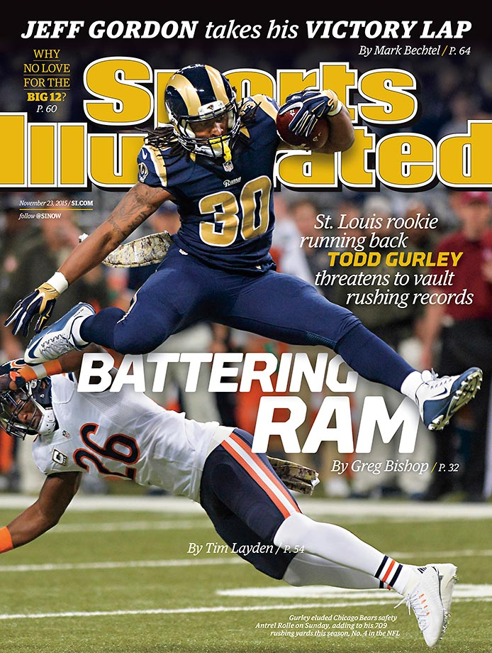November 23, 2015 | It's not hard to imagine all the rushing records falling to St. Louis Rams rookie Todd Gurley, who appears on a regional cover of this week's SI.