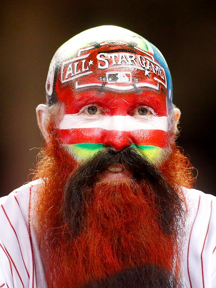 A painted-face fan attends the 86th MLB All-Star Game.