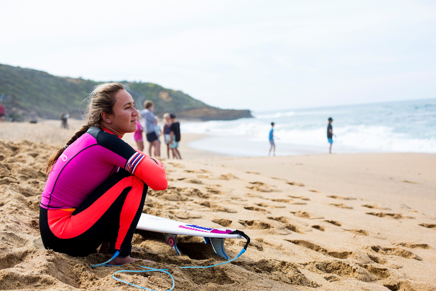 Two-time ASP Women's World Champion Carissa Moore prepares for her first round heat at the Rip Curl Pro Bells Beach.