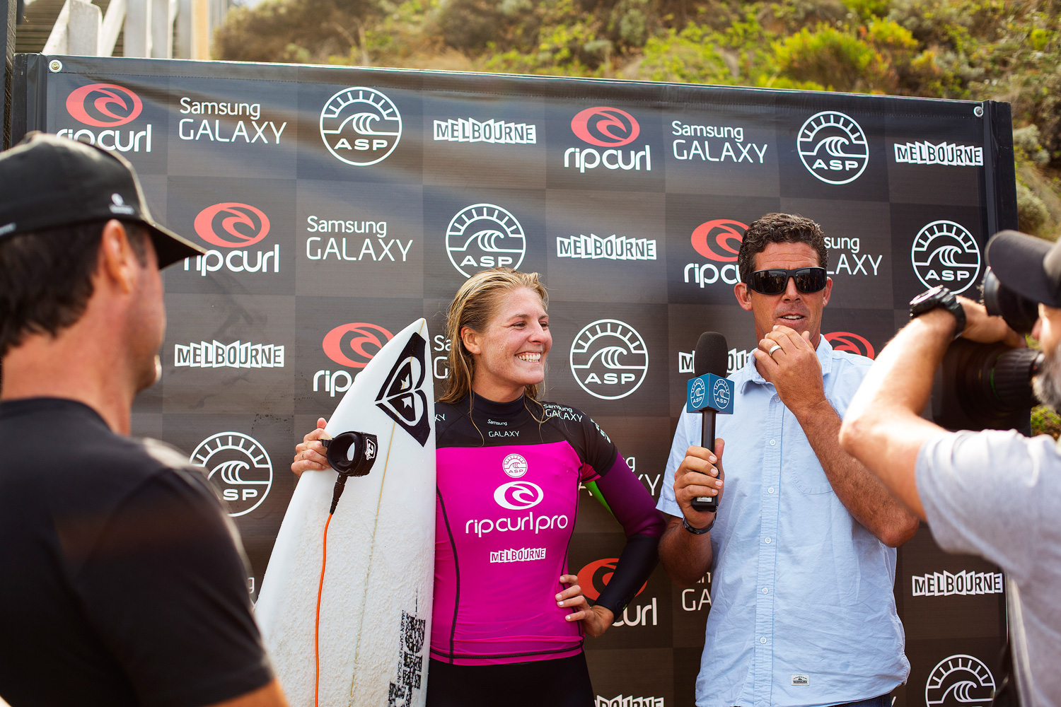 Stephanie Gilmore smiles during her post heat interview in Bells Beach, Australia.