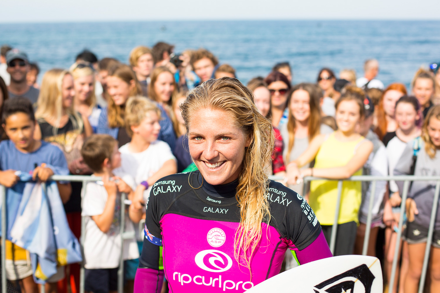Stephanie Gilmore enjoys the moment at the Rip Curl Pro Bells Beach.