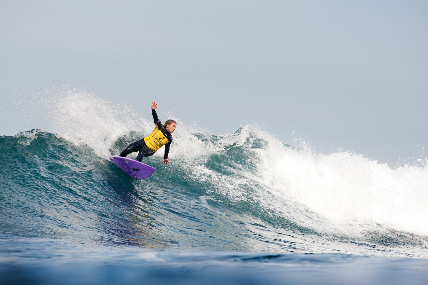 Dimity Stoyle of Australia advances into Round 3 of the Rip Curl Pro Bells Beach with her breakout performance.