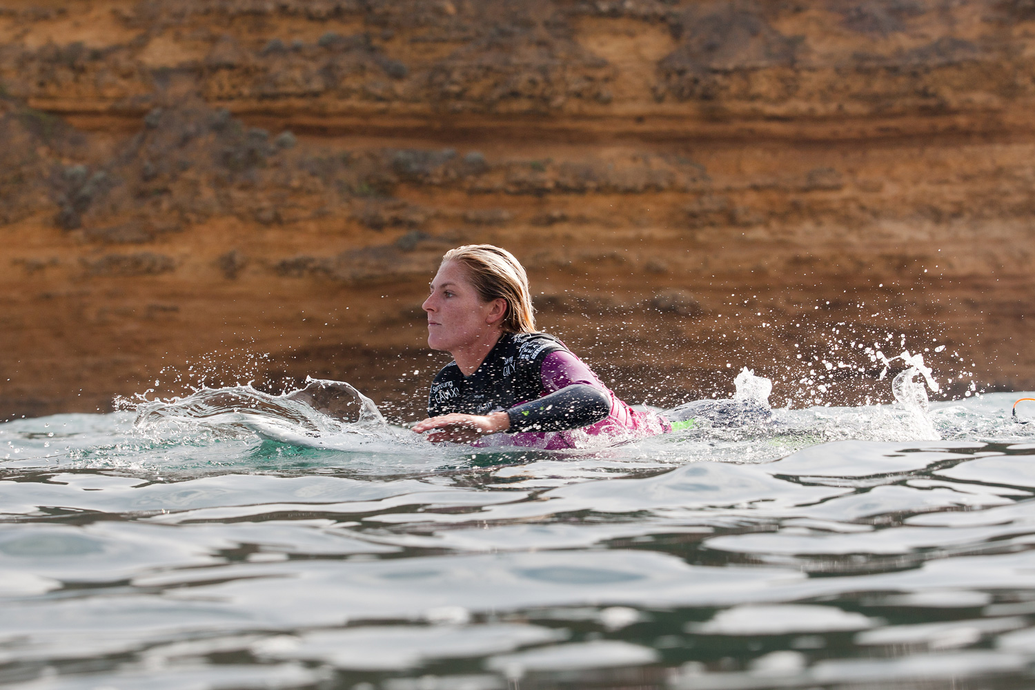 Stephanie Gilmore of Australia advanced into Round 3 of the Rip Curl Pro Bells Beach with a score of 13.33.
