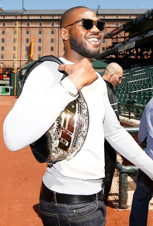 "All smiles for the champion as Johnny ""Bones"" Jones tours Camden Yards, home of the Baltimore Orioles, before his UFC 172 battle with Glover Teixeira."