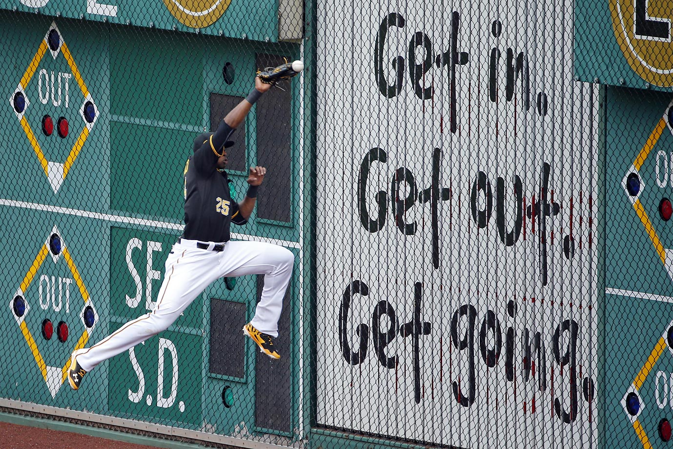 Words to live by for Pirates right fielder Gregory Polanco at the old ball game in Pittsburgh.