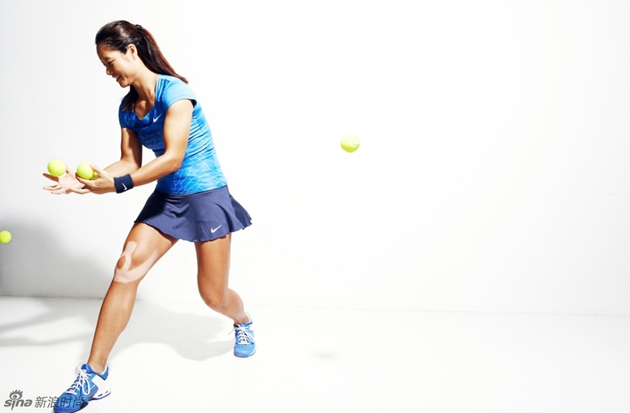 Li Na Nike shows off her tan lines during a Nike photo shoot in 2013.