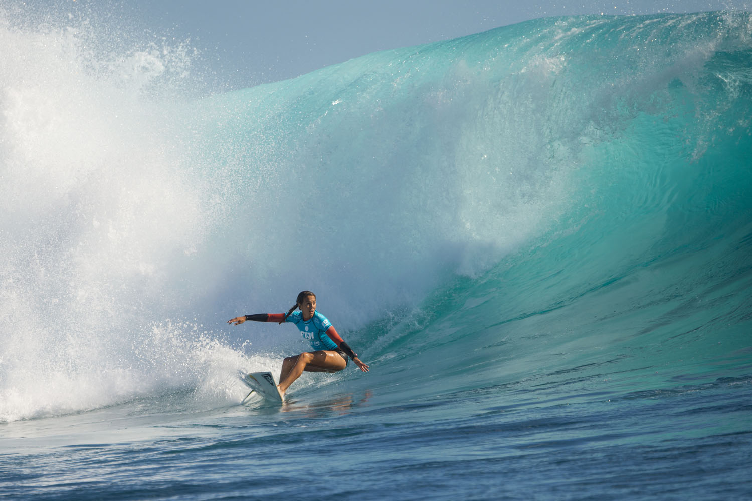 Sally Fitzgibbons takes on the surf at the Women's Fiji Pro on May 29, 2014 in Tavarua, Fiji.