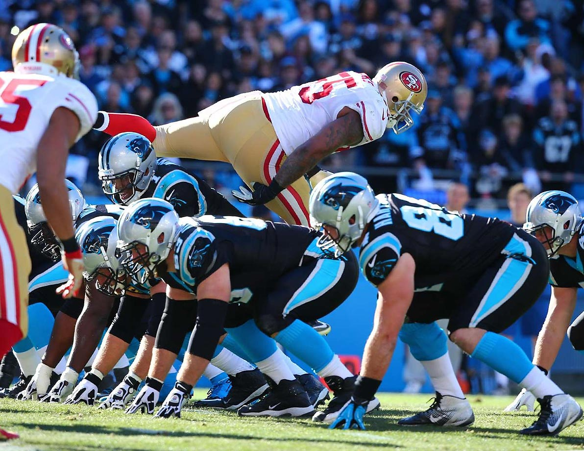 An over-anxious San Francisco defender leaps into the backfield of the Carolina Panthers before the ball is snapped.