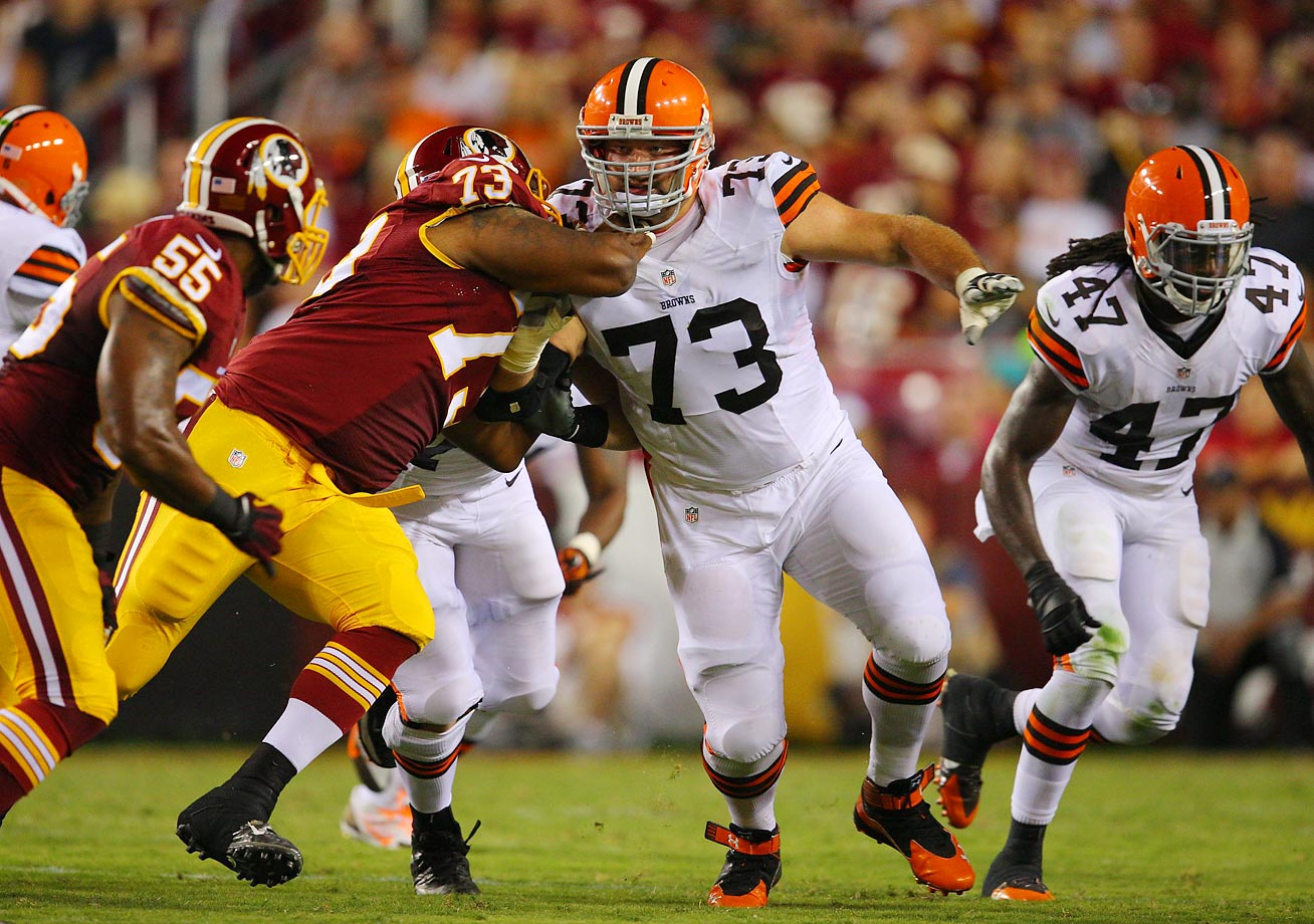 If there are better left sides in the league than Cleveland's, it's a very short list. Left tackle Joe Thomas (pictured) continues on a Hall of Fame track. Rookie left guard Joel Bitonio  gave up just one sack in 2014—in Week 16. And then, there's center Alex Mack, one of the best in the business. The challenge will be to improve the right side.