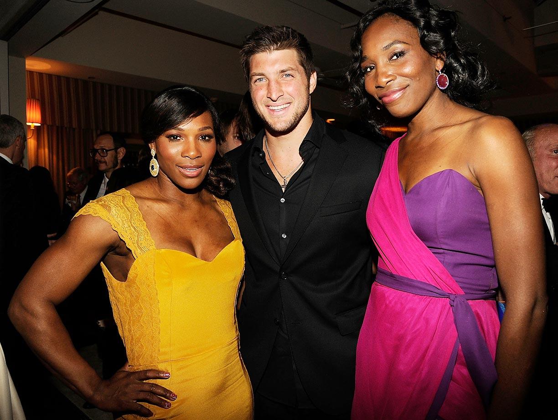 Serena, Tim Tebow and Venus at the 2012 Vanity Fair Oscar Party.