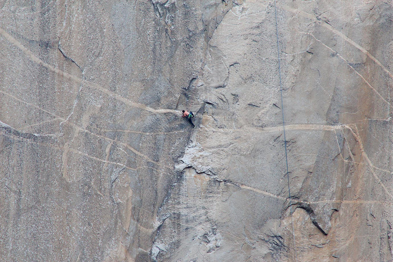 Kevin Jorgeson (shirtless, middle) climbing Pitch 17.
