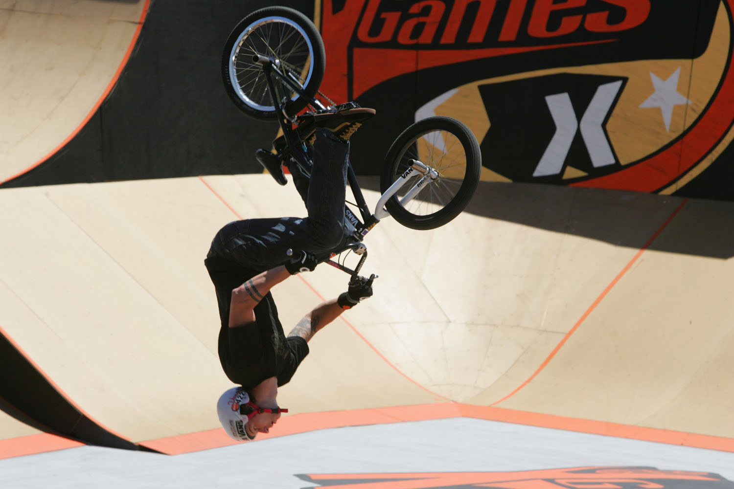 Ryan Guettler competes during the Bike Stunt Park competition at X Games 11 on August 7, 2004 at the Staples Center in Los Angeles, California.