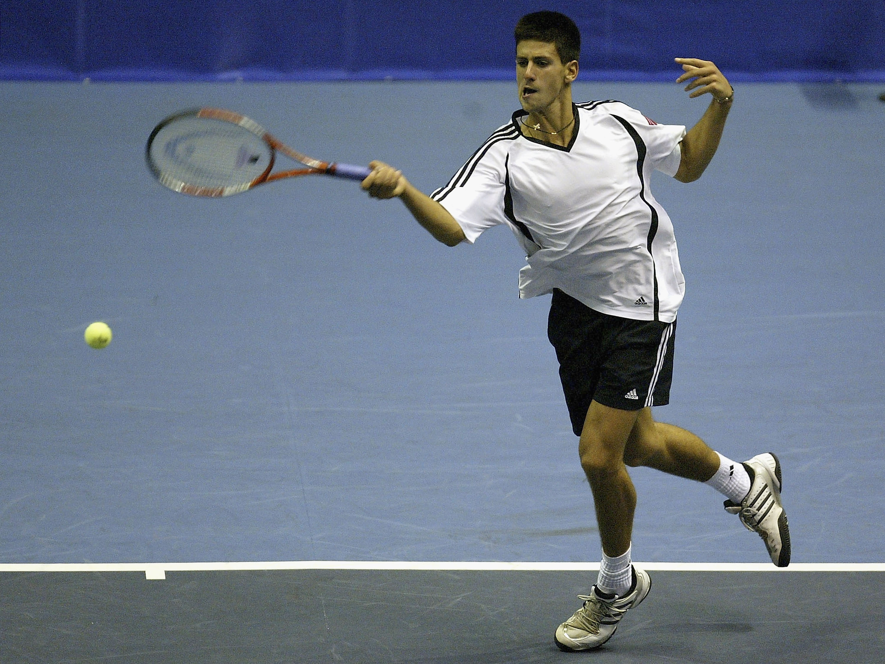 Originally clad in Adidas, a skinny 16-year-old Djokovic was swimming in his baggy shirts.