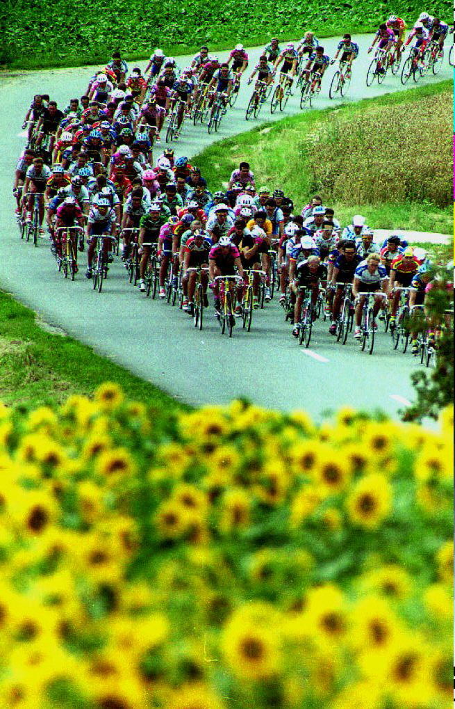 Cyclists pass through the Alsatian countryside in the 10th stage of racing between Luxembourg and Strasbourg in the 79th Tour de France in July 1992.