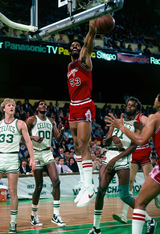 Still the NCAA's all-time leader in rebounds per game, Gilmore made five All-Star appearances in the ABA. The Chicago Bulls made Gilmore the No. 1 overall pick in the 1976 dispersal draft as part of the NBA-ABA merger. Gilmore appeared in six NBA All-Star games. He is still the NBA's career leader in field goal percentage at 59.9%. — Runner-up: Darryl Dawkins