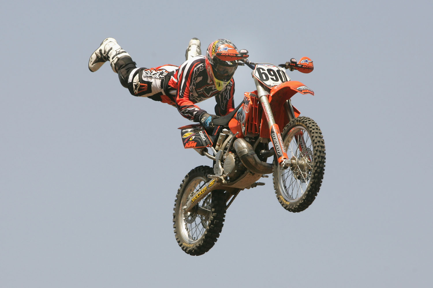 Kenny Bartram perfroms a trick during the Moto X Freestyle final at X Games Eleven on August 6, 2005 at the Home Depot Center in Los Angeles, California.