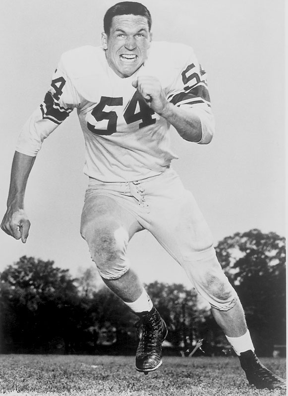 With his exceptional pass and run protection for Bear Bryant, Jordan helped Alabama finish 11-0 in 1961 and 10-1 in 1962. He famously made 30 tackles in a 17-0 victory over Oklahoma in the 1962 Orange Bowl and was named the game's most outstanding player. — Runner-up: Bruce Smith, HB, Minnesota (1939-41)
