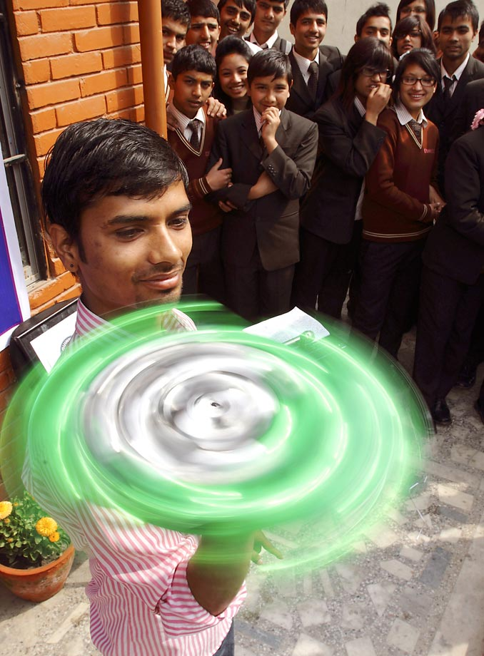 Thaneshwar Guragai spins this record book for exactly 30 minutes in Nepal to smash the 6.51-minute record.