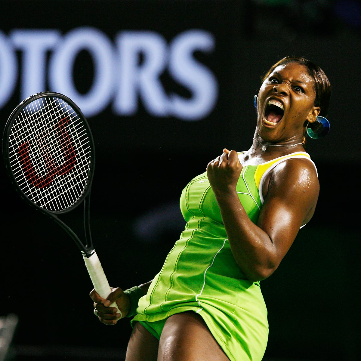 Australian Open, Jan. 21, 2007 | Serena Williams celebrates a point during the 2007 Australian Open finals against Maria Sharapova. Williams, who was unseeded because of her World no. 81 ranking, continued on to beat Sharapova and win the tournament.