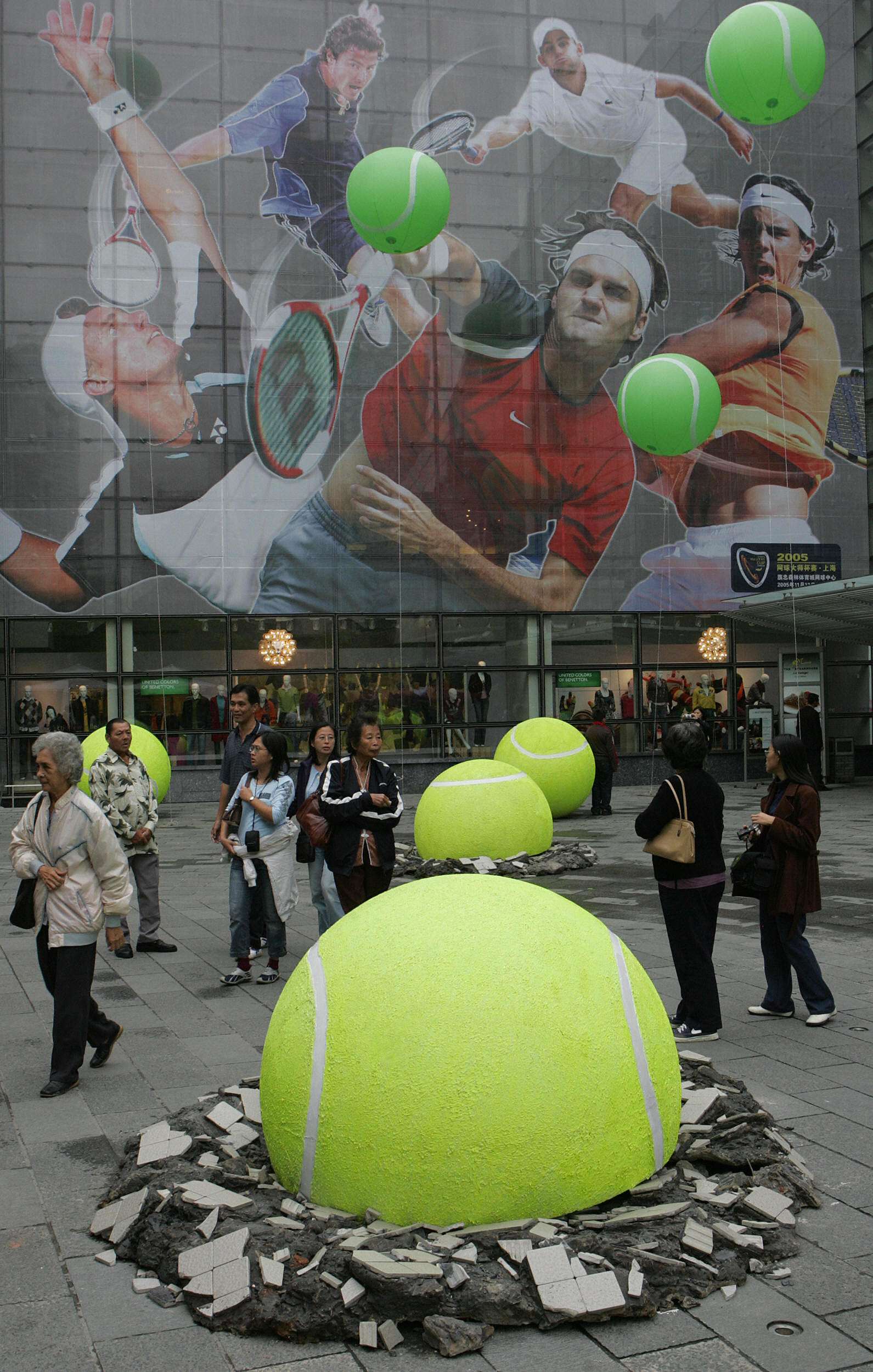 This large tennis display was a unique way to promote the tournament.