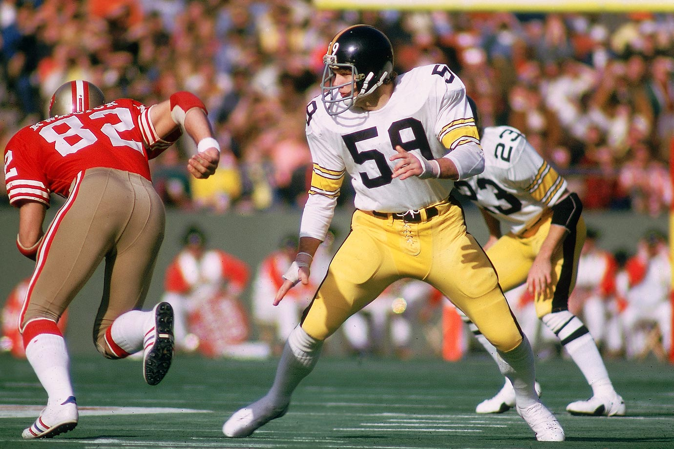 As good as Lambert was, it's Ham who's thought by many to be the best linebacker of the Steel Curtain defense, and one of the best in NFL history. A ruthlessly intelligent player who almost never stepped out of position, Ham was a first-team All-Pro every year from 1974 through '79, which just happened to line up with Pittsburgh's run of four Super Bowl titles in six years.