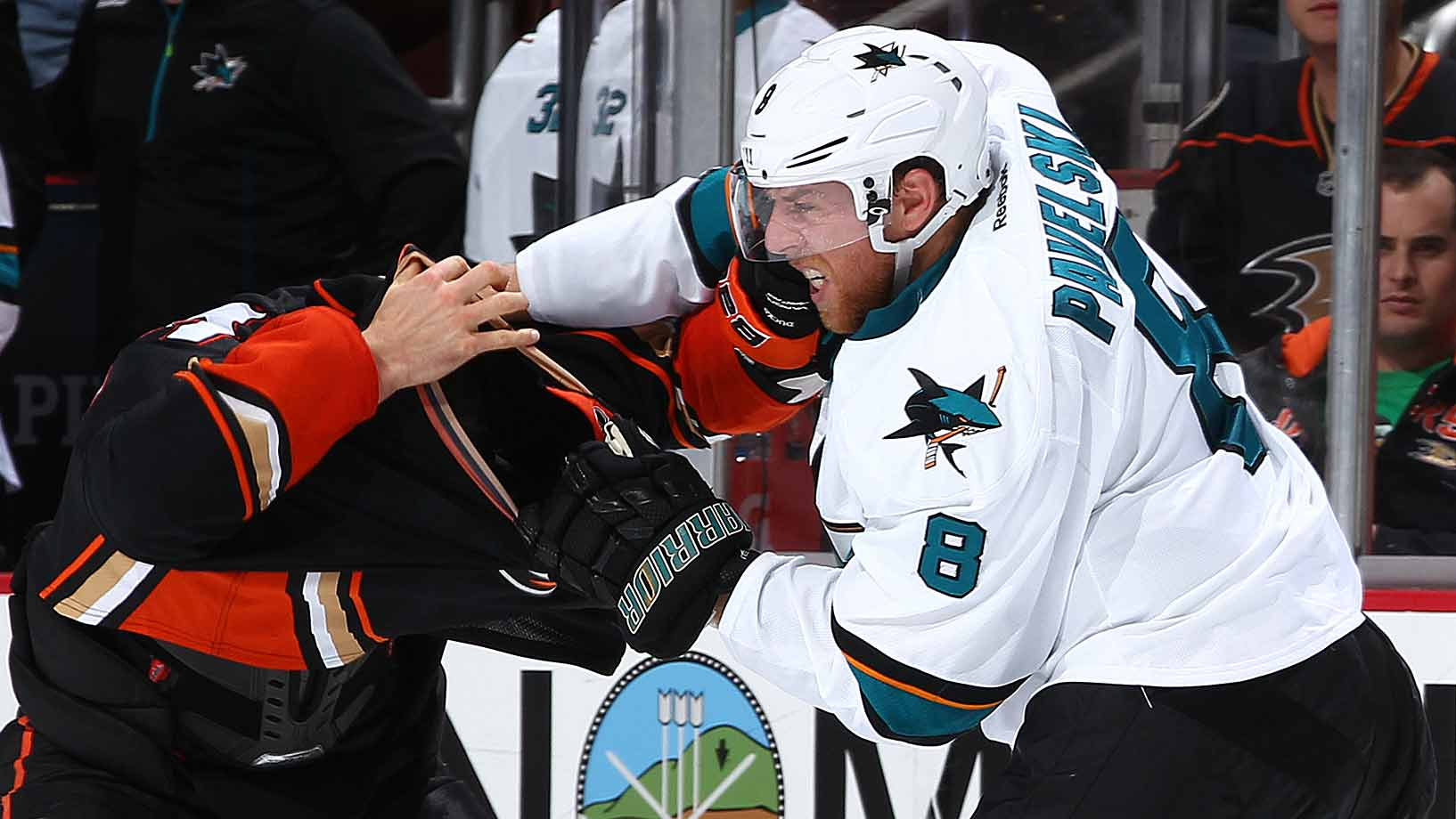 This Duck's head was apparently bitten off by a Shark during a scrap at Anaheim's Honda Center on Oct. 26.