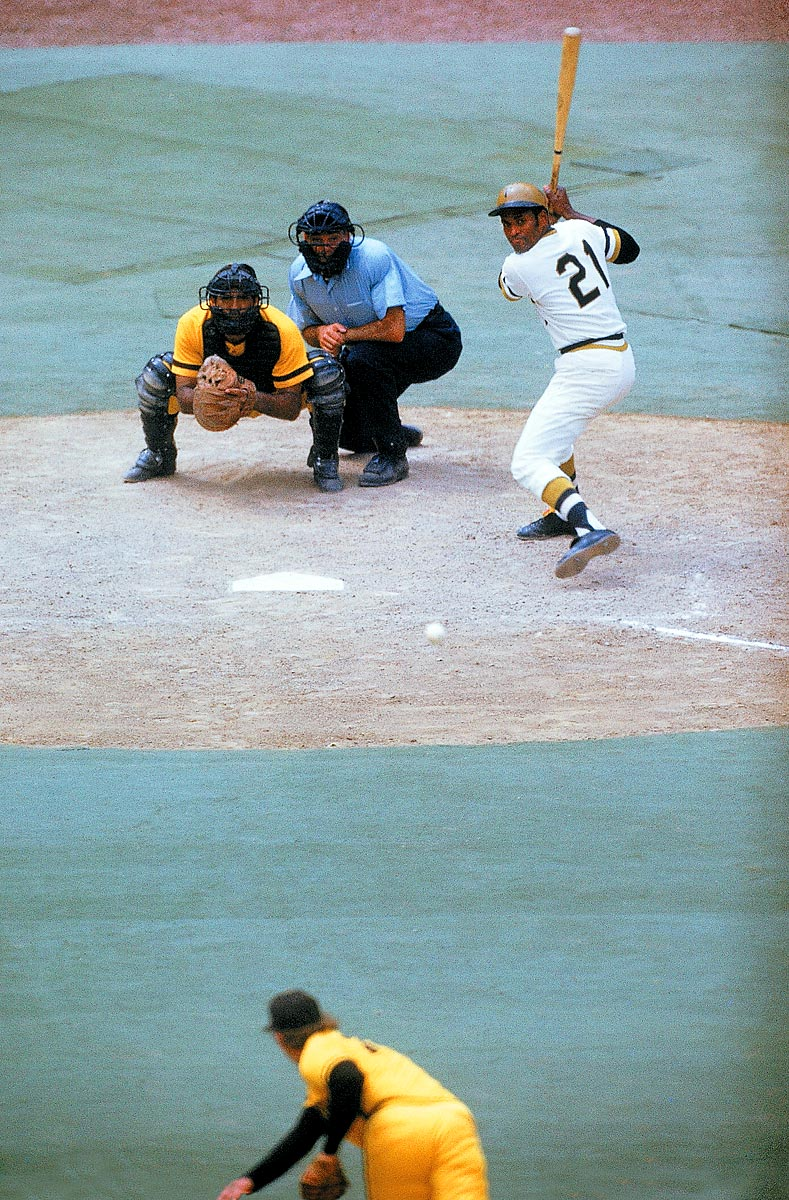 Padres at Pirates, June 16, 1972 | Pittsburgh Pirates star Roberto Clemente tracks a ball from a San Diego Padres pitcher during an eventual 2-1 Pirates victory. The 1972 season would be Clemente's last as he would die in a plane crash in December of the same year.