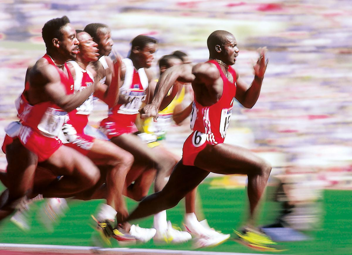 Summer Olympics, Sept. 24, 1988 | Canadian sprinter Ben Johnson pulls ahead of the pack during the men's 100-meter dash at the 1988 Summer Olympics in Seoul, South Korea. Johnson would win gold and set a new world record, only to be stripped of both when he tested positive for performance-enhancing drugs three days later.