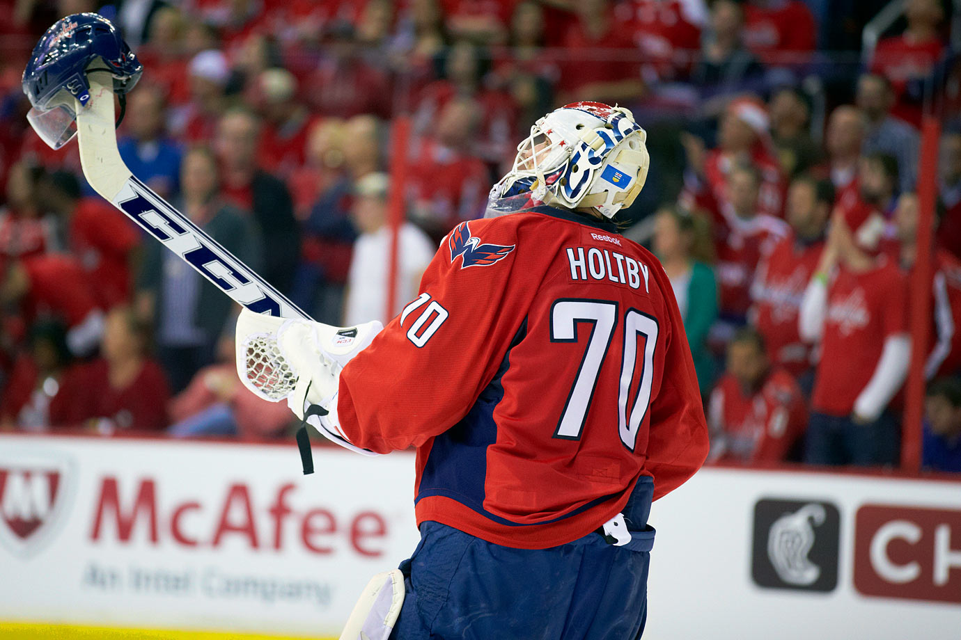 "Holtby is one of just 10 players in history to wear 70 because ""that's the number they gave me when I showed up."" He was in net for three shutouts against the Bruins in 2014-15, setting a new NHL mark."