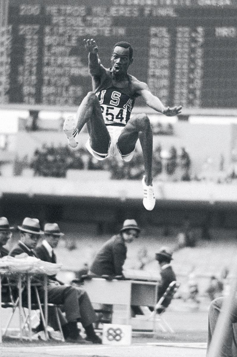 Summer Olympics, Oct. 18, 1968 | U.S. track and field athlete Bob Beamon flies through the air during his world record long jump of 8.9 meters at the 1968 Summer Olympics in Mexico City. Beamon's jump, which inspired a new adjective for spectacular feats ('Beamonesque'), stood as the world record for 23 years.