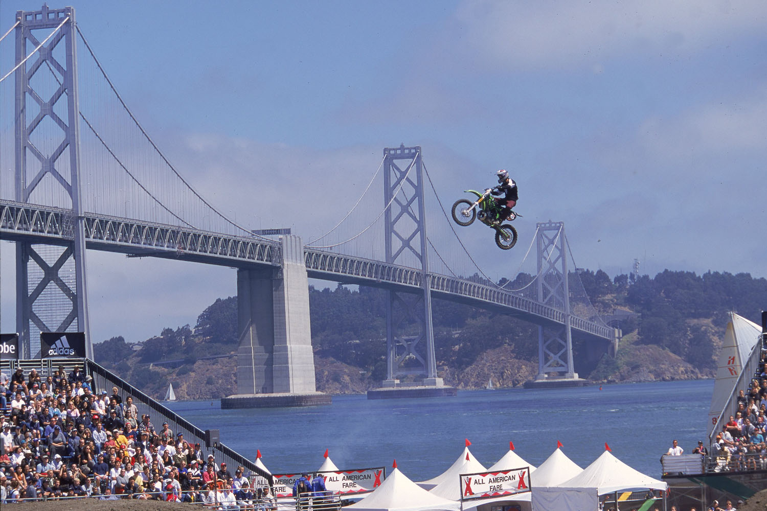 A beautiful view of the Moto X Freestyle competition during the X Games at Pier 30 and 32 in San Francisco, California.
