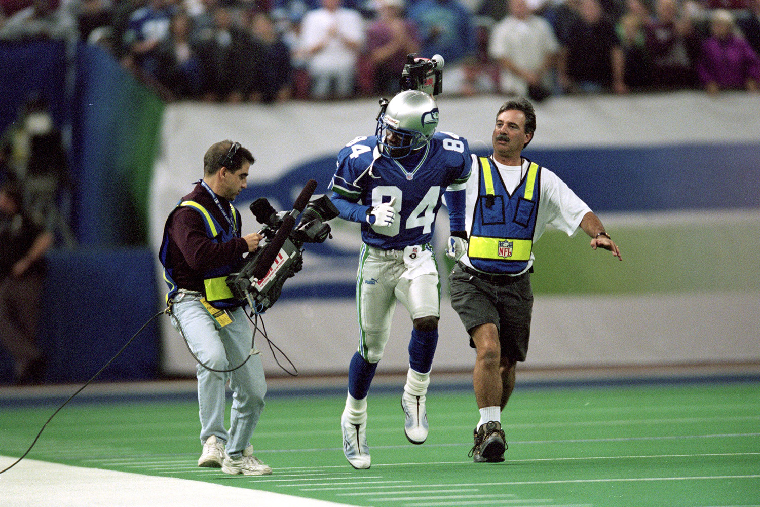 A multi-sport athlete early on in his career, Galloway was drafted with the 8th overall pick in the 1995 NFL Draft. Galloway played for six different NFL franchises throughout his career and at one time owned the AFL's Columbus Destroyers. (*Galloway's time was calculated before the NFL implemented electronic timing to improve accuracy.)