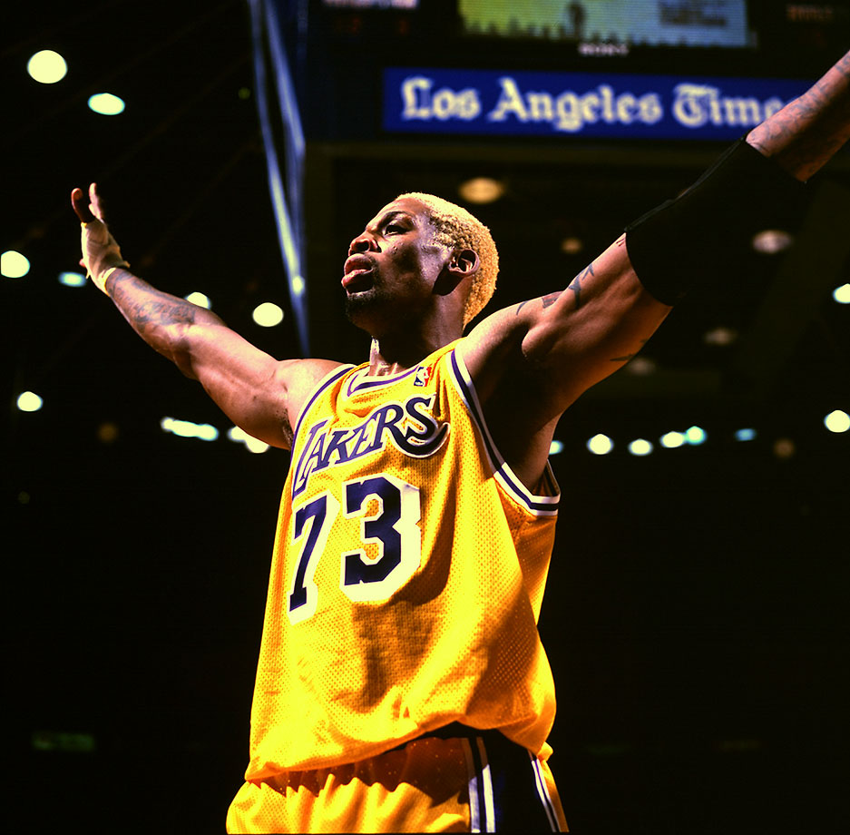 "Rodman's most famous for wearing No. 91, and is the only player to make this list twice, given he became the only player in NBA history to wear No. 73 when he suited up for the Los Angeles Lakers in the 1998-99 season. He's a five-time NBA champion, winning two as a ""Bad Boy"" Piston and three with Jordan's Bulls, and set an NBA record by leading the league in rebounding for seven straight seasons (1991-98)."