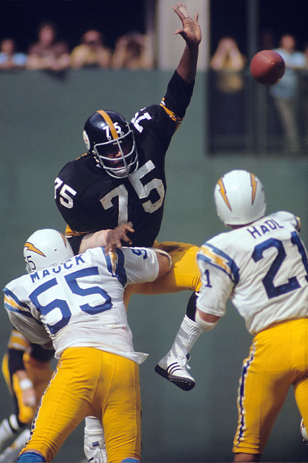 "In 1974, Greene and the Steelers coaching staff devised the ""Stunt 4–3"", in which Greene slanted to the center at a 45-degree angle. It made Greene even more unblockable than he had been before, which is saying something, as Greene was on the path that would eventually make him perhaps the greatest defensive tackle of all time. Sack totals were unofficial during his career, but he's unofficially credited with 11 sacks in 1972 and five sacks in one game against the Houston Oilers."