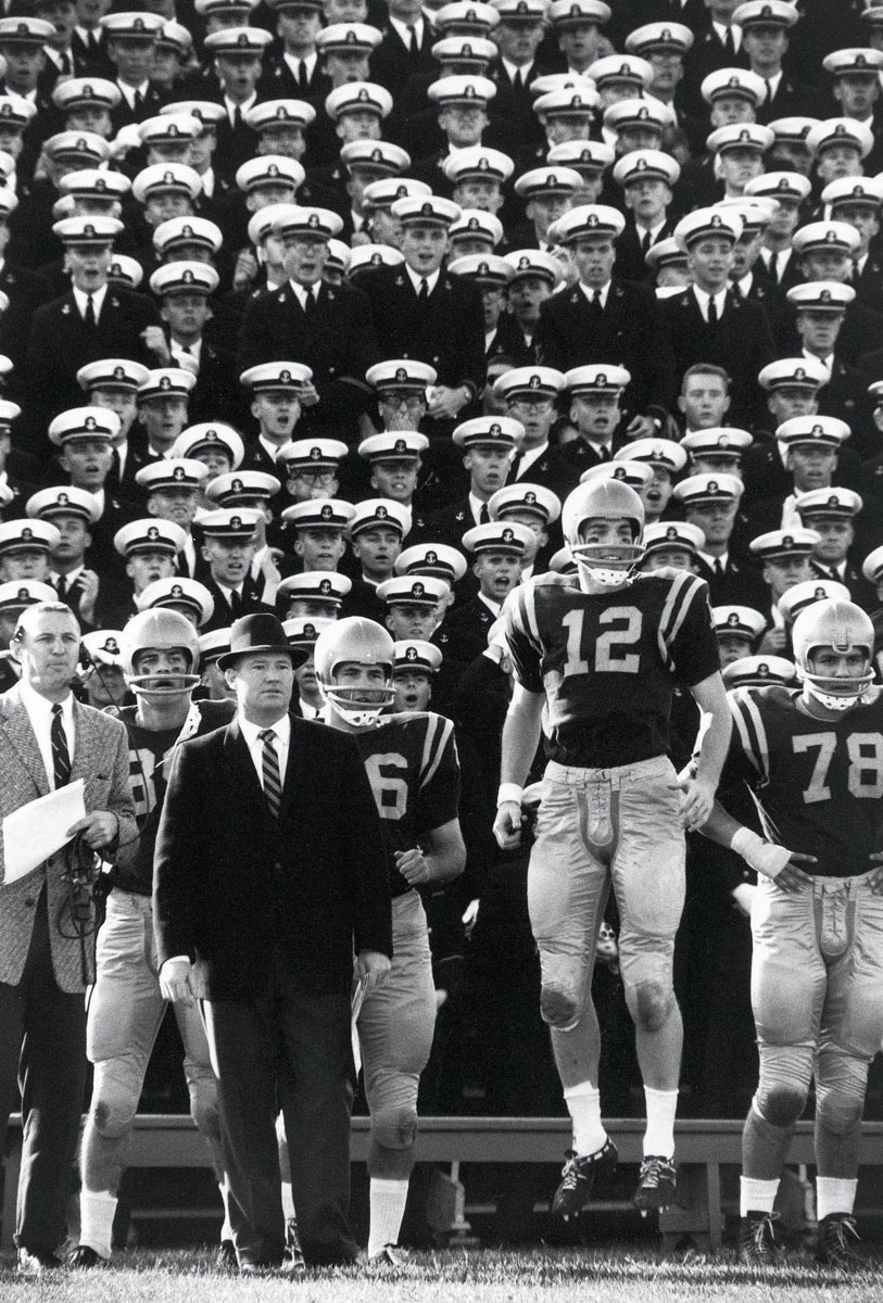 Annapolis, Nov. 9, 1963 | Navy quarterback Roger Staubach shows his glee during Navy's win over Maryland.