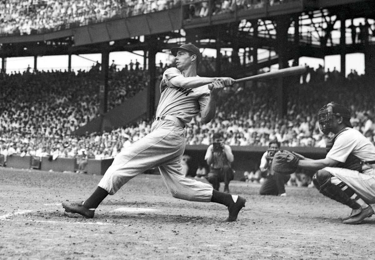 Yankees at Senators, June 29, 1941 | Yankee great Joe DiMaggio takes a hack against the Washington Senators during his 1941 AL MVP season. He hit .357 with 30 home runs and 125 RBI during the year.